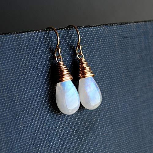 Rainbow Moonstone Drop Earrings 14K Gold Filled