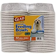 Glad for Pets Small Disposable Feeding Bowls, 50 Count | Dog Food Bowls for Dog Water and Food |Soak Proof and Leak Resistant Pet Food Bowls Hold Up to 1.75 Cups of Dog Food or Liquid in Gray