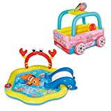 Summer Waves 77in x 34in Inflatable Under The Sea & Ice Cream Truck Kiddie Pools