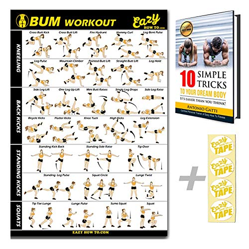Eazy How To Butt Workout Exercise Banner Poster - Tone, Firm, Shape, Lift & Grow a Bigger Bum at Home - Big Gym Chart 28 X 20