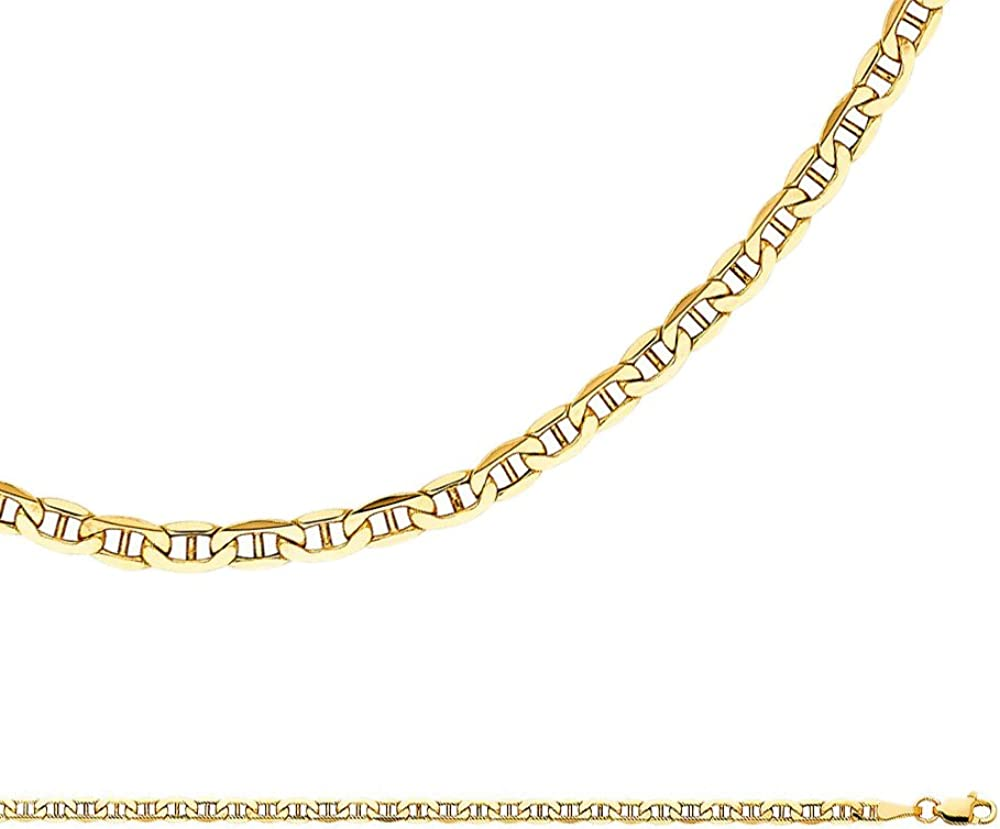 """10k Solid Yellow Gold Mariner Anchor Necklace Pendant Chain 22/"""" 3.2mm"""
