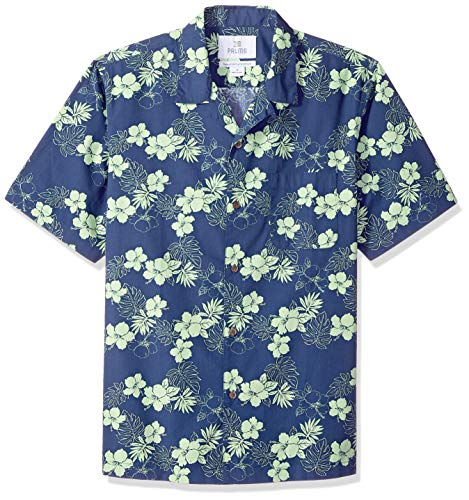 28 Palms Men's Relaxed-Fit 100% Cotton Tropical Hawaiian Shirt, Navy/Bright Lime Hibiscus Floral, X-Large