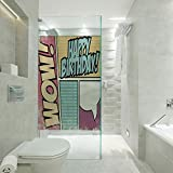 RWNFA Non-Adhesive Glass Films Anti Uv,Comic Book Style Grunge Pop Art Effect Energy Boom Cartoon Retro,Customizable Size,Suitable for Bathroom,Door,Glass etc,Yellow Pink Blue