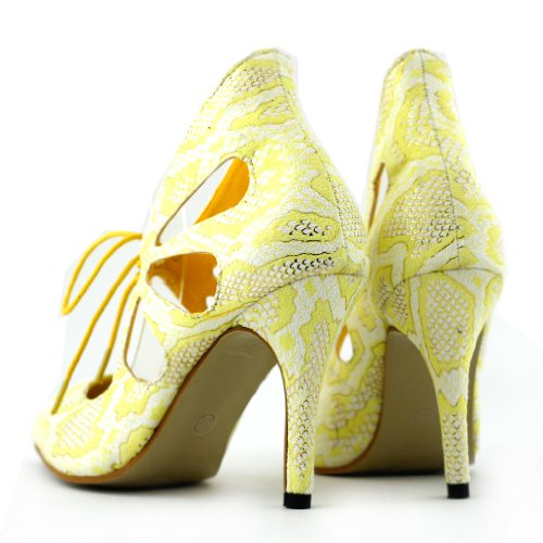Show Story Sexy Pointy Toe Lace Up Cut Out Stiletto High Heel Pump,LF60601 Yellow