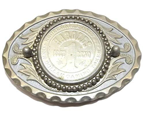(Vintage Harolds Club Dollar Casino Token Chip Western Style Belt Buckle Reno, NV)