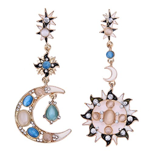 Jocestyle Womens Fashion Vintage Elegant 'Sun & Moon' Jewelry Earrings for Party Wedding Casual (Moon Ring Jewelry)