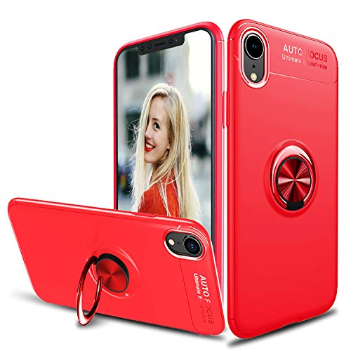 Tevero Soft iPhone Xs Max Case, [Ring Series] Ultra Slim 360 Degree Rotating Ring Kickstand with Magnetic Shockproof Protective Phone Case Cover Compatible with iPhone Xs Max (2018) 6.5 inch (Red)