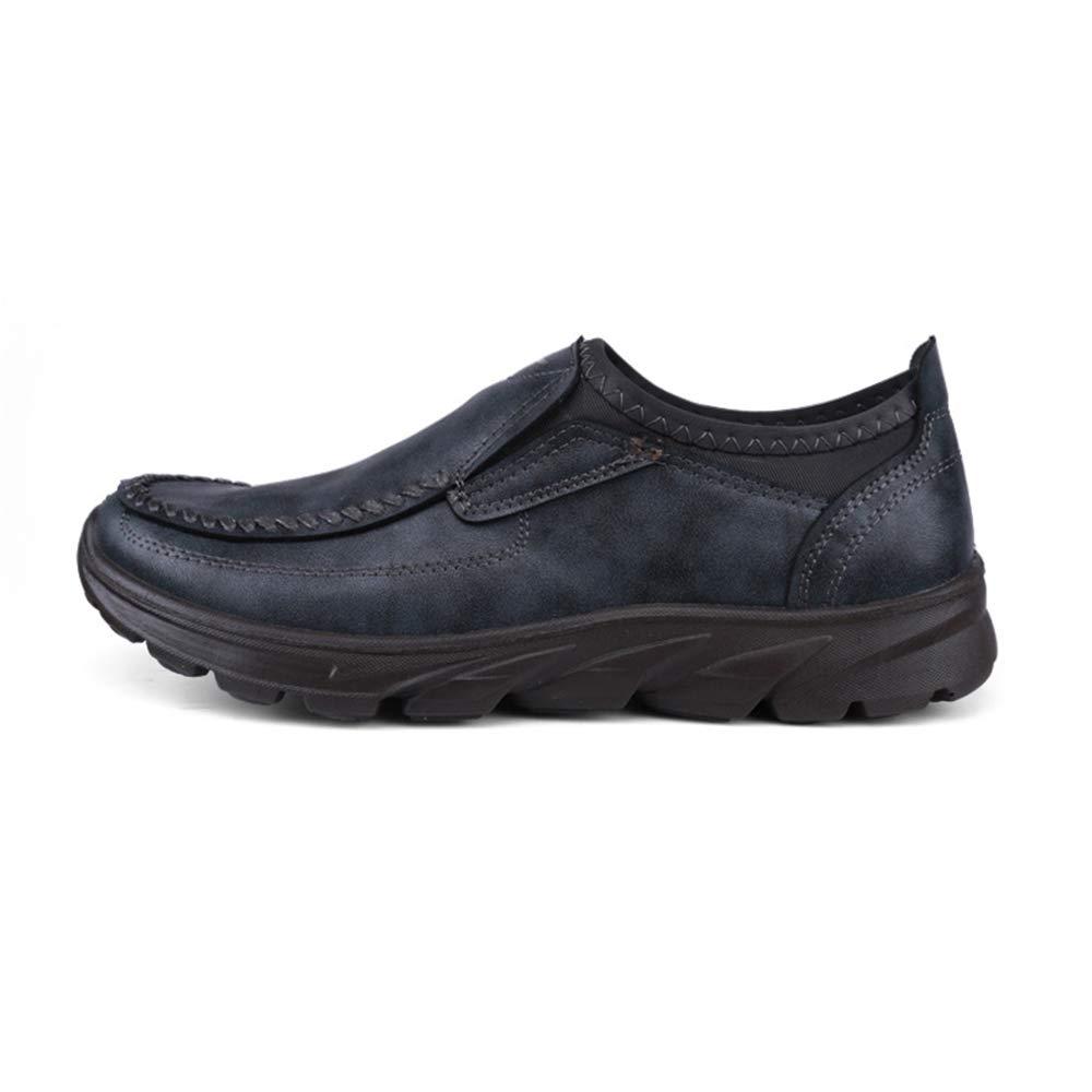 Qiusa   Loafers Herren Casual Slip auf Loafers  Licht Rutschfeste weiche Sohle Durable Driving Schuhes (Farbe : Schwarz, Größe : EU 42) Grau 754476