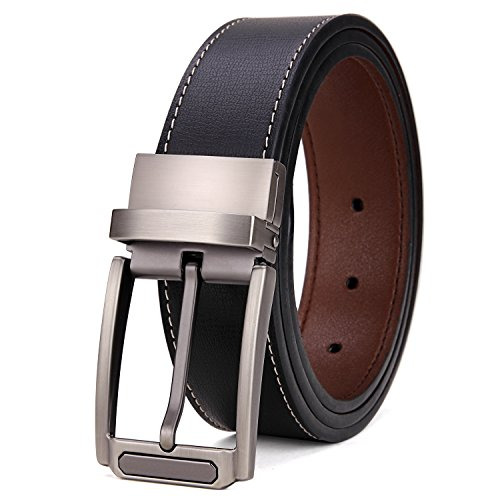 Tonly Monders Men's Reversible Belt Dress Leather Belts For Men Rotated Buckle Black, 37 38 Waist