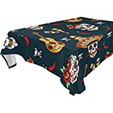 WOZO Rectangular Mexican Sugar Skull Pepper Guitar Tablecloth Table Cloth Cover for Home Decor Dinner Kitchen Party Picnic Wedding Halloween Christmas 60x120 inch