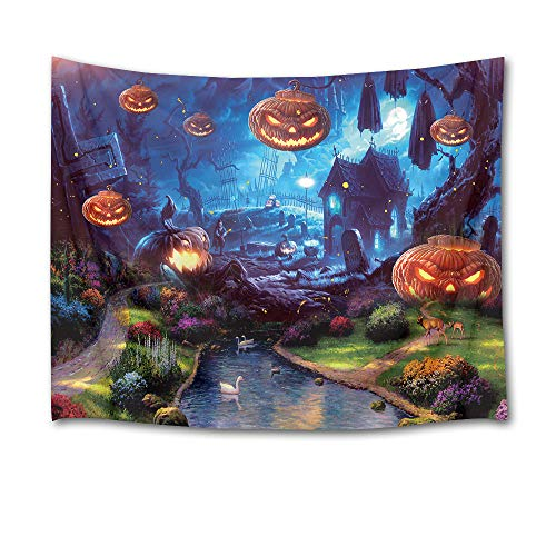 HVEST Halloween Tapestry Terror Pumpkin Jack-O-Lantern Wall Decor Fairy Tale Tapestry White Swan Swim in River Creek Wall Art for Bedroom Home Dorm Halloween Decor 60Wx40H inches