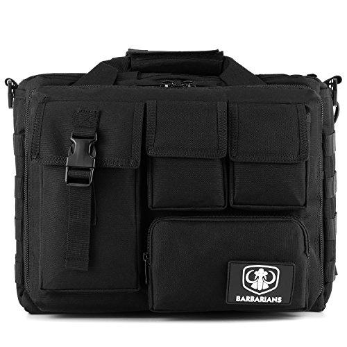 Barbarians Tactical Laptop Bag, Pro-Multifunction Mens Military Molle Messenger Laptop Bag Handbags Briefcase Satchel Crossbody Sling Case Fits 14'' Laptop Camera iPad Black by Barbarians