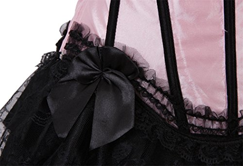 Lace up Satin Padded Cup Bustier Size S-2XL + Fancy mini tutu Skirt Set for Moulin Rouge Showgirl Clubwear Rosa-Schwarz 2dFV97eq