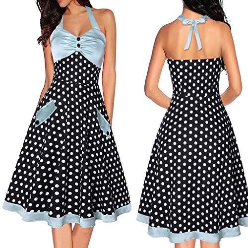 Sharemen Vintage 1950S Rockabilly Polka Dots Audrey Dress Retro Cocktail Dress(Black,XXL)
