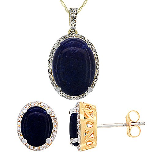10K Yellow Gold Genuine Oval Lapis Stud Earrings Diamond Halo Necklace Set Oval 8x6mm & (Yellow Gold Genuine Lapis Earring)