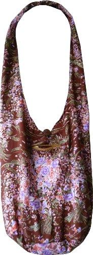 Handgefertigte Beuteltasche aus Baumwolle mit Blumenmuster, brauntöne