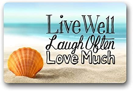 Alago Doormats Non-Slip Outdoor Door Mats with Live Laugh Love Seashell Rubber Backing Inside Entrance Rugs 18 x 30