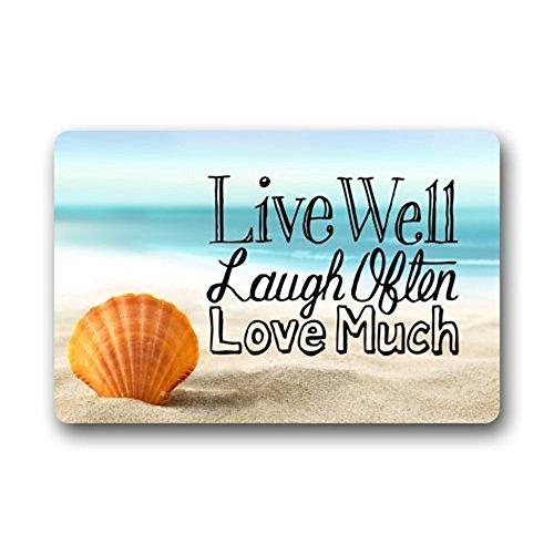 ALAGO Doormats Non-Slip Outdoor Door Mats with Live Laugh Love Seashell Rubber Backing Inside Entrance Rugs 15.7