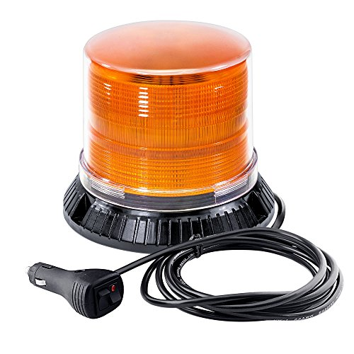 Emergency Strobe LED Beacon Light [12 Watt] [14 Modes] [Powerful Magnet] [Dust Cover] [13ft Cord] Warning Flashing Emergency Vehicle Lights for Cars and Trucks - Amber/Amber