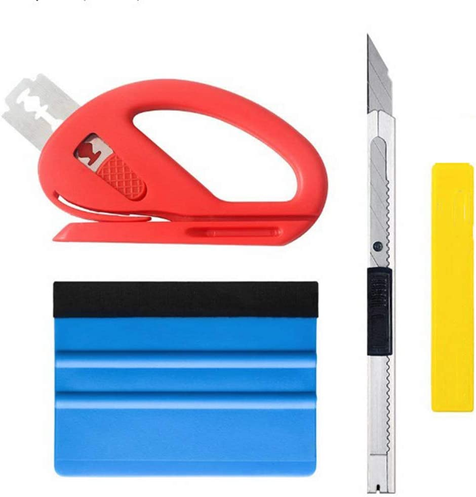 Felt Edge Squeegee Professional Better Paste Convenient Auto Scraper Car Wrapping Tools Safety Sticker Cutter-4pcs