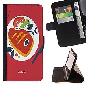 King Case - FOR Samsung Galaxy S3 III I9300 - Delicious cheese - Prima caja de la PU billetera de cuero con ranuras para tarjetas, efectivo Compartimiento desmontable y correa para la mu?eca