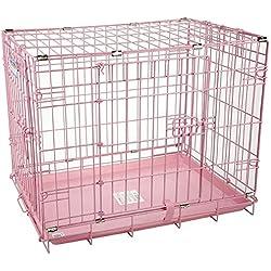 Dog Crate in Pink with 2-Door