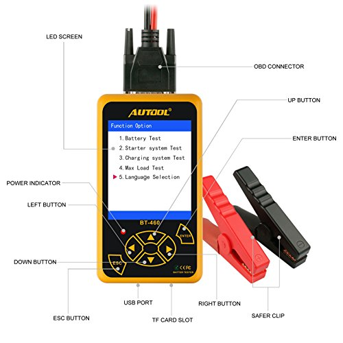 Launch AUTOOL BT-460 Lead-Acid AGM Gel Cell 4'' TFT Colorful Display Auto Testers Car Battery Analyzer Suppor 12V Vehicles & 24V Heavy Duty Trucks
