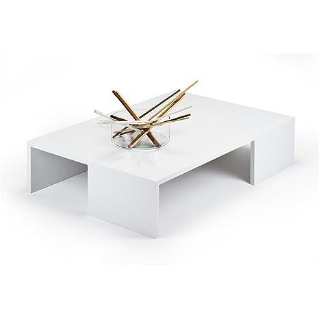 Mobili Fiver Rachele, Tavolino da Salotto, Legno, Bianco Lucido ...