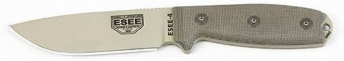 ESEE Knives 4 Plain Blade Fixed Blade Knife Kydex Sheath, Desert Tan, ESEE-4P