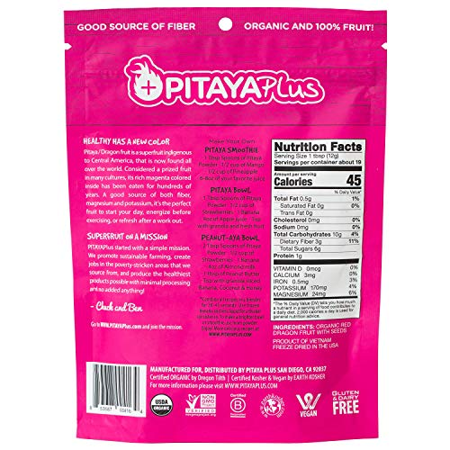 Pitaya Plus Freeze Dried Red Dragon Fruit Powder Organic. 8 Ounces of 100% Dragon Fruit for the Brightest Pink Rceipes. USDA and Oregon Tilth Organic, Non-GMO, Earth Kosher, Vegan Verified, B-Corp. by Pitaya Plus (Image #1)