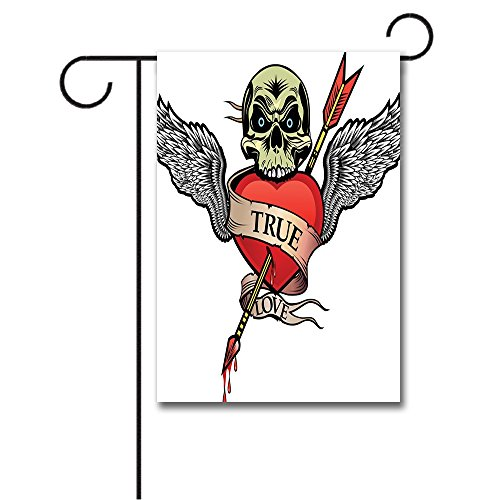 Wondertify Garden Flags Tattoo Angel Wings Skull Heart Full of Blood Symbol of Real Love Valentines Double Sided House Decoration Polyester Garden Flag 28 X 40 - Skull Wing Tattoo