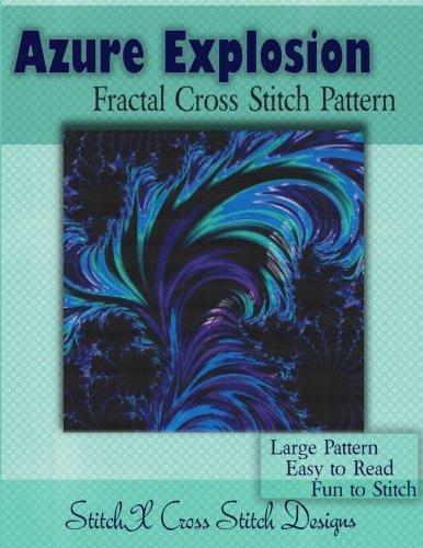 (Azure Explosion Fractal Cross Stitch Pattern)