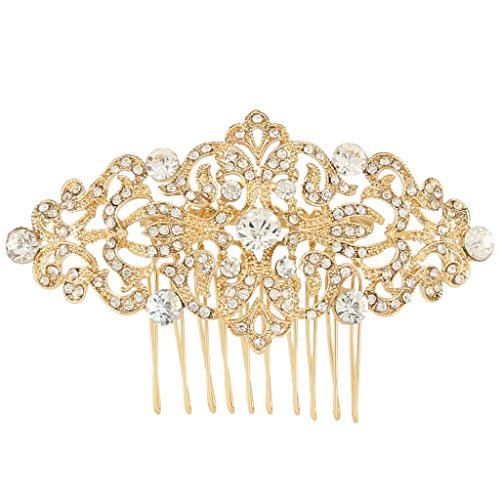 EVER FAITH Art Deco Wave Bridal Hair Side Comb Clear Austrian Crystal Gold-Tone (Art Deco Wedding)