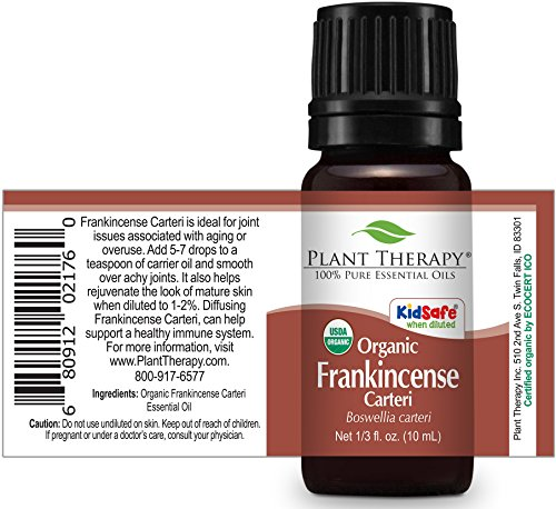 Plant Therapy USDA Certified Organic Frankincense Carteri Essential Oil. 100% Pure, Undiluted, Therapeutic Grade. 10 mL (1/3 Ounce).