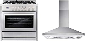 Cosmo COS-965AGC 36 in. Gas Range with 5 Burner Cooktop, Stainless Steel, 36 inches & 63190 36 in. Wall Mount Range Hood with Ductless Convertible Duct, Stainless Steel
