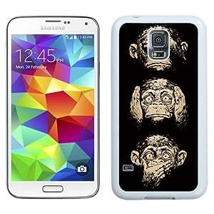 NEW Unique Custom Designed Samsung Galaxy S5 I9600 G900a G900v G900p G900t G900w Phone Case With Three Wise Monkeys Wisdom_White Phone Case