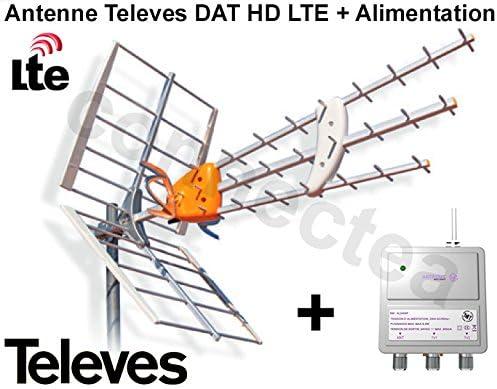 Antena UHF TDT Televes DAT HD LTE BOSS 790, tricapa, 17 dB + alimentación – Antena 4G con preamplificador integrado + alimentación – Opensys