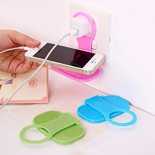 Euone  Phone Hanger, 2Pcs Foldable Plastic Cell Phone Wall Charger Hanger Holder Charging Rack Stand Cradle Universal