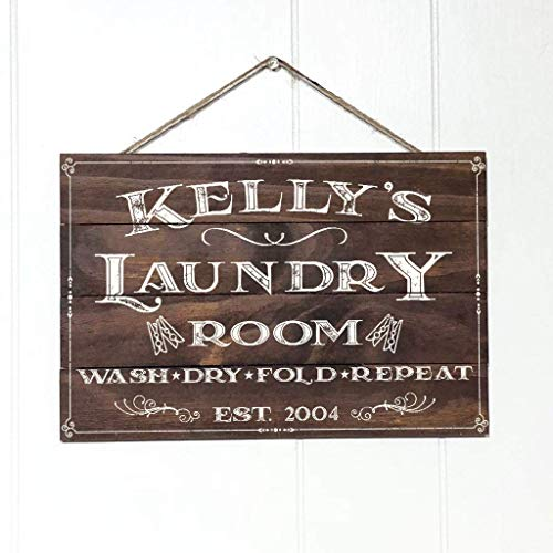 Artblox Personalized Rustic Laundry Room Wood Sign Home Decor - Vintage Custom Name and Established Year, Premium Pine Wood Farmhouse Style Wooden Wall Art Country Pallet Plaque 16x12 - Brown