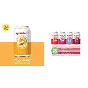 Spindrift Sparkling Water, Orange Mango Flavored, 12 Fl Oz Cans, Pack of 24 & Sparkling Water, 4 Flavor Berry Variety Pack, 12 Fl Oz, Pack of 20 Seltzer Water Cans