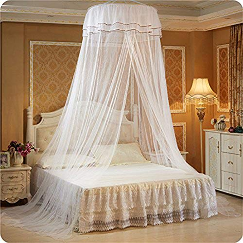 - Mosquito Net - Opening Ceiling Dome Round Cute Princess Student - Suitable for Bed 3.9-5.9 INCH (White)