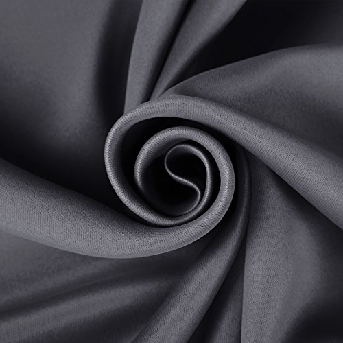 Review EASELAND Blackout Curtains 2 Panels Set Room Darkening Drapes Thermal Insulated Solid Grommets Window Treatment Pair for Bedroom, Nursery, Living Room,W52xL63 inch,Dark Grey