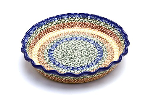 Polish Pottery Baker - Pie/Quiche - Fluted - Autumn