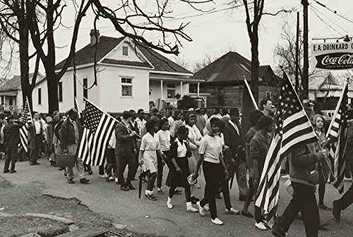 Participants some carrying American flags marching in the civil rights march from Selma to Montgomery Alabama in 1965 Poster Print (18 x 24) (The March From Selma To Montgomery 1965)
