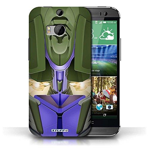 Etui / Coque pour HTC One/1 M8 / Opta-Bot Bleu conception / Collection de Robots