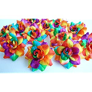 "(50) Silk Rainbow Tone Roses Flower Head - 1.75"" - Artificial Flowers Heads Fabric Floral Supplies Wholesale Lot for Wedding Flowers Accessories Make Bridal Hair Clips Headbands Dress 30"