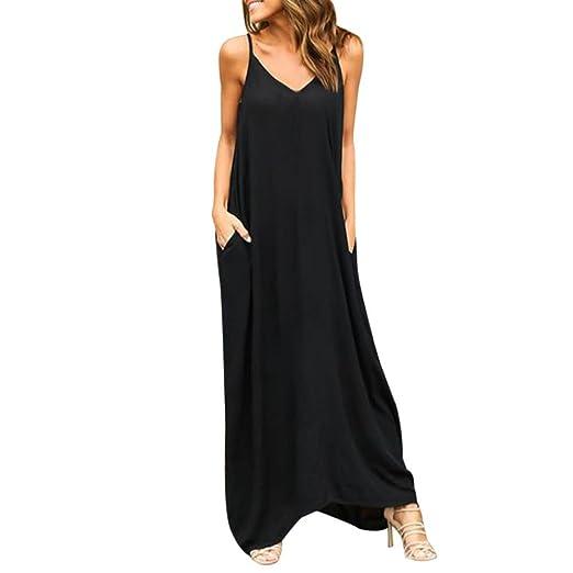 ede169c5aa2 Gyoume Hippie Dress Women Boho Long Maxi Dress Summer Pockets Dress (S