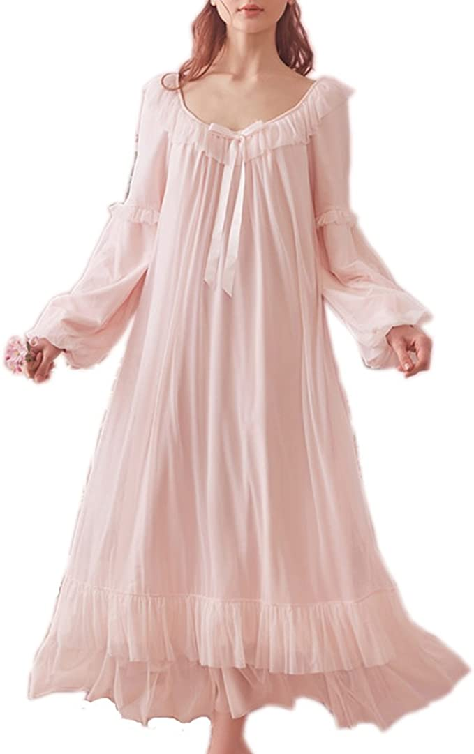 Vintage Nightgowns, Pajamas, Baby Dolls, Robes Womens Vintage Victorian Nightgown Long Sleeve Sheer Sleepwear Pajamas Nightwear Lounge Dress $39.99 AT vintagedancer.com