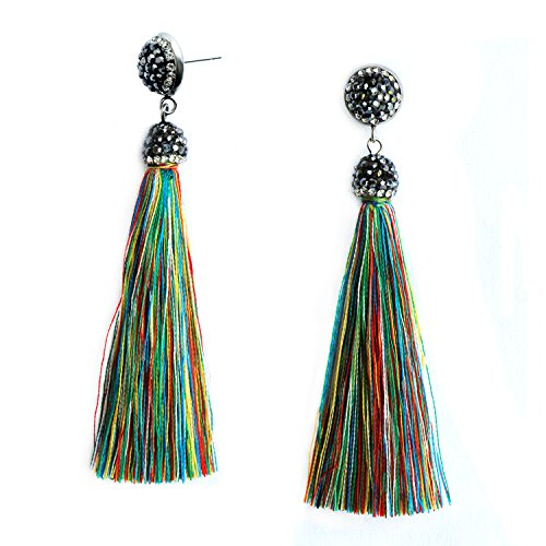 Women Girls Tassel Dangle Drop Earrings Multicolor Bohemian Vintage Long Fringe Tassel Earrings with Diamond Studs