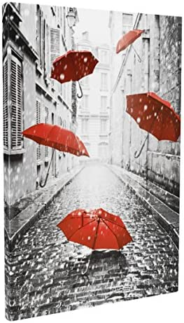 DongLin art Paris Eiffel Tower Paintings Landscape Modern Abstract Painting-Red Umbrellas on Rain Wall Art Oil Paintings for Wall or Home Decor Framed, 35 x 43 x 1 IN, Frame thickenin
